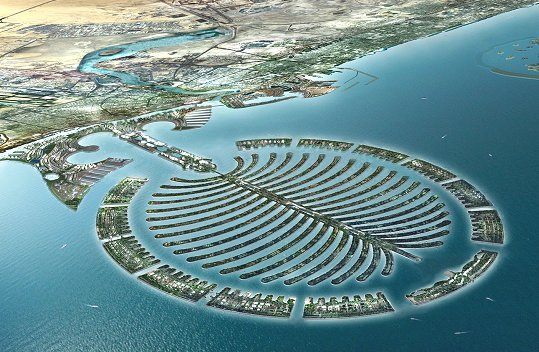 Palm Jumeirah – a palm shaped island off Dubai - cost over $12 billion USD to build, and is still underpopulated
