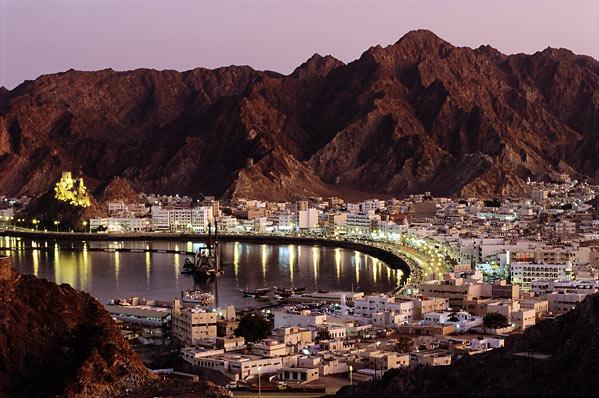 Oman coastline at dusk